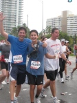 Miami Beach author and psychologist M. Gary Neuman and son Mikey cross Belle Isle during the ING Miami Marathon.