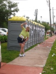 Getting loose by the PortaPotties.