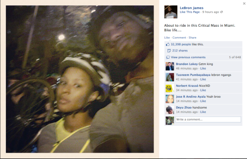 LeBron James' Twitter pic from the Critical Mass ride.