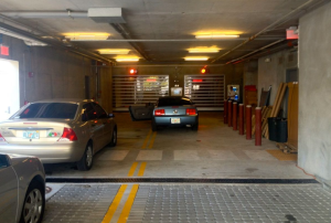 Cars entering the robartic garage on Collins Avenue.