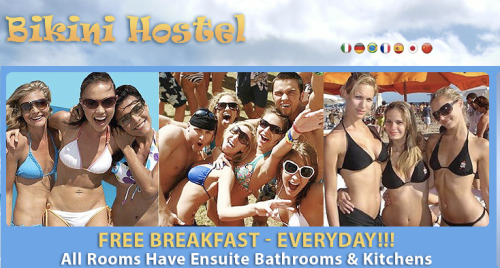 On its website, Bikini Hostel sells skin.
