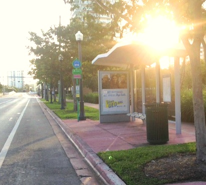 Daybreak at the Belle Isle bus shelter. Video, anyone?