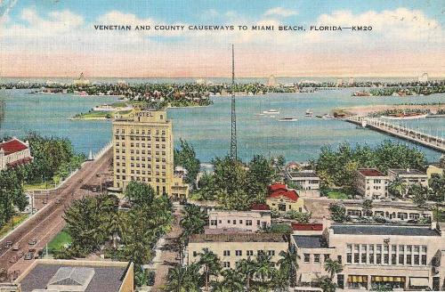 Betwen the Venetian and County causeways (MacArthur wasn't a hero yet)