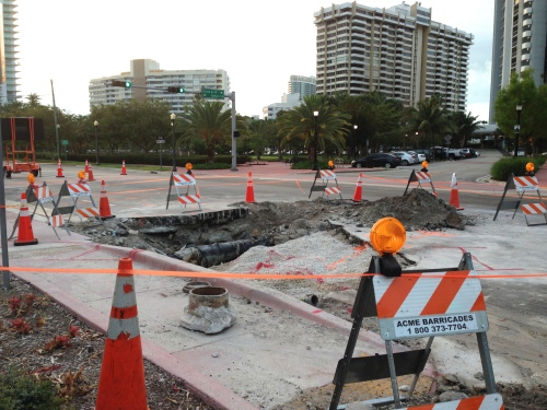 Venetian Way still must be repaired at site of water main break.
