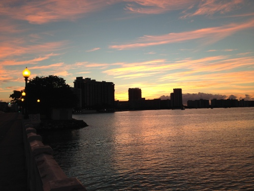 It's a pink champagne sunrise over Belle Isle and South Beach.
