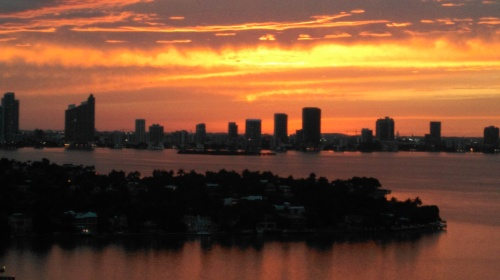Sunset over Miami, from Belle Isle