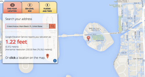 Island Terrace Belle Isle Blog - Sea level elevation map by address