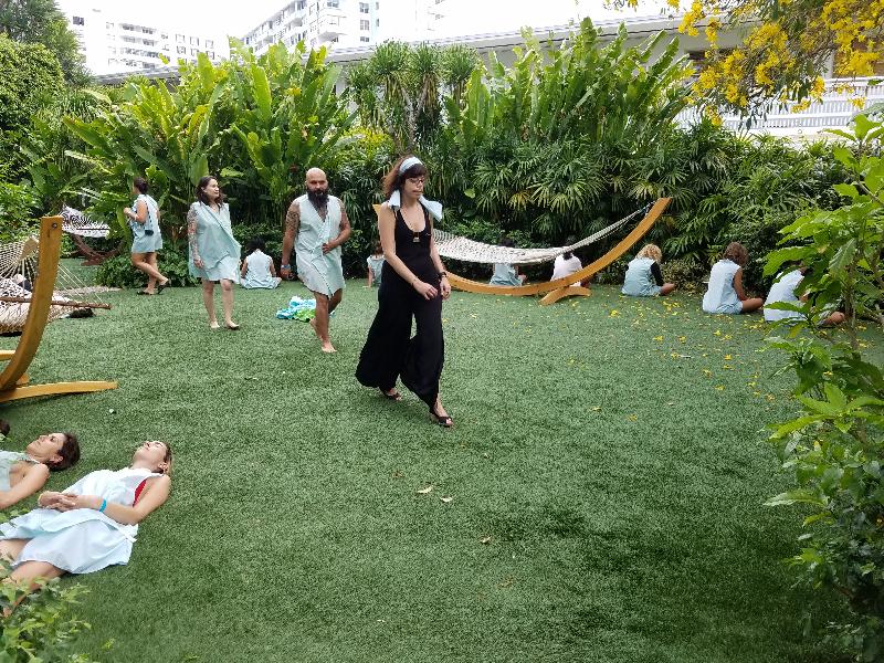 Jillian Mayer leads participants to the Standard pool (Photos courtesy of O, Miami/Farah Diba Cristina Yamini)