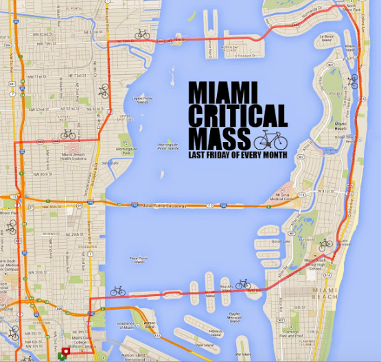 Route for Friday night's bike ride.